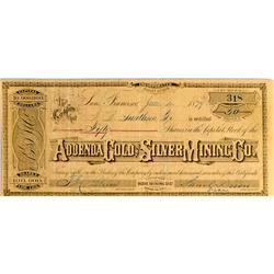 Mono County,CA - June 4, 1879 - Addenda Gold and Silver Mining Company Stock :