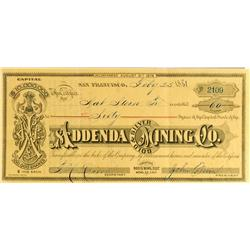 Mono County,CA - February 25, 1881 - Addenda Gold and Silver Mining Company Stock :