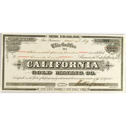 Mono County,CA - October 31, 1879 - California Gold Mining Company Stock :