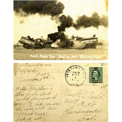 Napa County,CA - November 1, 1917 - California State Fair Train Wreck Photo Post Card :
