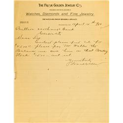 Nevada City,CA - Nevada County - April 2, 1900 - Frank Golden Jewelry Co. Letter :