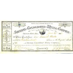 Nevada City,CA - Nevada County - June 19, 1882 - Sherman Consolidated Mining Company Stock Certifica