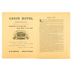 Nevada City,CA - Nevada County - c. 1890's - Union Hotel Broadside :