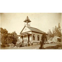 Pine Grove,CA - Amador County - c1890 - Schoolhouse and Children Pose Photograph :
