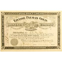 Plumas County,CA - Feb. 15, 1883 - Taylor Plumas Gold Mining Co. Stock :