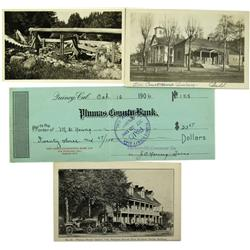 Quincy,CA - Plumas County - c1910 - Quincy Post Cards & Check :