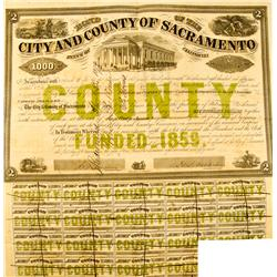 Sacramento,CA - 1859 - City & County Bond :