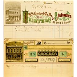 Sacramento,CA - 1877 & 1896 - Colorful Billheads :