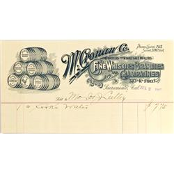 Sacramento,CA - July 2, 1907 - Cronan (M.) Co. Liquor Dealer Letterhead :