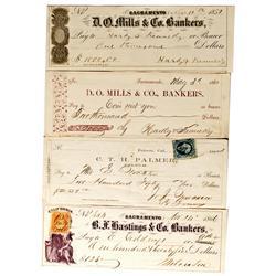 Sacramento,CA - 1859-1866 - Sacramento Banking House Checks (4) :