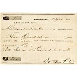 Sacramento,CA - May 30, 1850 - Sacramento City Check :