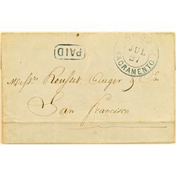 """Sacramento,CA - June 11, 1854 - Sacramento Envelope Cover """"Paid"""" :"""