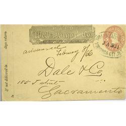 Sacramento,CA - 1866 - Virginia City Nevada Territory Wells Fargo Express Cover :