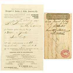Sacramento City,CA - March 19, 1869 - Fire Insurance Policy Statement :