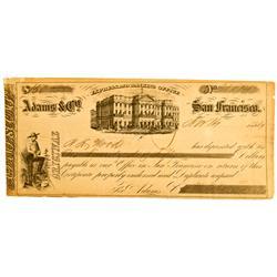 San Francisco,CA - 1854 - Adams & Co. Express and Banking Office Original Exchange :