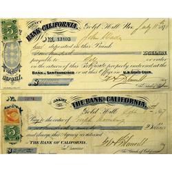 San Francisco,CA - 1867-1871 - Bank of California Checks :