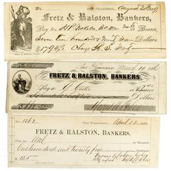 San Francisco,CA - 1859-1861 - Fretz and Ralston, Collection of Three Drafts :