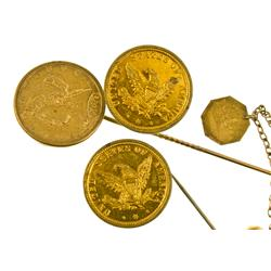 San Francisco,CA - c1870s - Gold Rush Jewelry: Stick Pins & Cuff Links :
