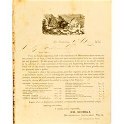 San Francisco,CA - February 10, 1868 - Gold Rush Surveyor Advertisement Letter :