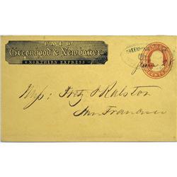 San Francisco,CA - 1860 - Greenhood & Newbauer Rare Express Cover :