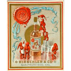 San Francisco,CA - c1888-1895 - Hirschler & Co. Whiskey Bottle Label :