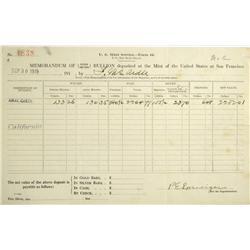 San Francisco,CA - Memorandum of Gold and Silver Bullion Deposited at the United States Mint at San
