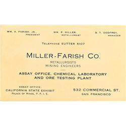 San Francisco,CA - c. 1915 - Miller-Farish Co. Assay Office Business Card :