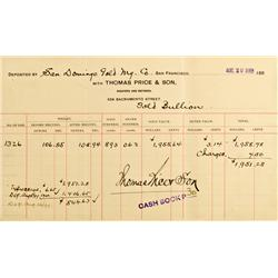 San Francisco,CA - August 26, 1899 - Price & Son, Assayers & Refiners Deposit of Gold Bullion (stamp