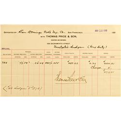San Francisco,CA - May 12, 1899 - Price & Son, Assayers & Refiners Deposit Receipt :
