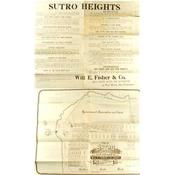 San Francisco,CA - c 1881 - Sutro Heights Advertisement with Subdivision Map :