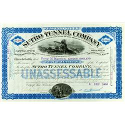 San Francisco,CA - 1886 - Sutro Tunnel Company Stock :