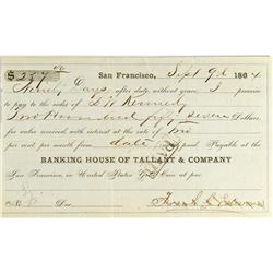 San Francisco,CA - Sept. 9, 1864 - Tallant & Company Banking House Promissory Note :