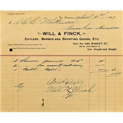 San Francisco,CA - April 4, 1907 - Will & Finck Billhead :
