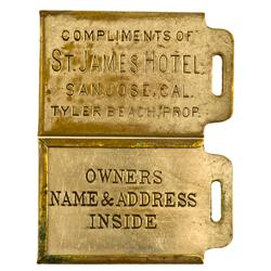 San Jose,CA - Santa Clara County - c1900 - St. James Hotel Fob & Key Tag :