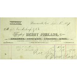 Weaverville,CA - Trinity County - 1887 - Henry Junkans Gold Dust Buyer Billhead :