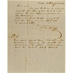 Wilton(?),CA - Sacramento County - October 5, 1851 - Volunteer Muster Letter :