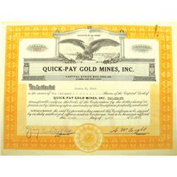 CO - Quick-Pay Gold Mines, Inc. Stock Certificate :