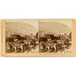 Aspen,CO - Pitkin County - c1890 - Loading the Great Burro Train Stereoview :