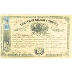 Bakerville,CO - Clear Creek County - September 7, 1871 - Crescent Silver Company Stock Certificate :