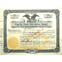 Colorado Springs,CO - El Paso County - 1902 - El Paso National Bank Stock Certificate :