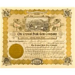 Cripple Creek,CO - Teller County - 1912 - Crystal Peak Gem Company Stock Certificate :