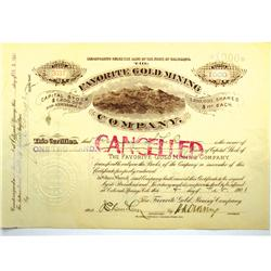 Cripple Creek,CO - Teller County - 1901 - Favorite Gold Mining Company Stock Certificate :