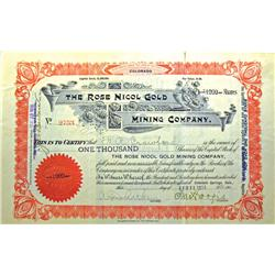 Cripple Creek,CO - Teller County - February 11, 1918 - Rose Nicol Gold Mining Company Stock Certific