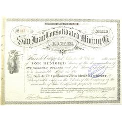 Del Norte,CO - 1875 - San Juan Consolidated Mining Co. Stock Certificate :