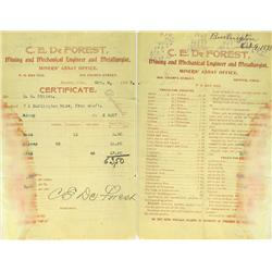 Denver,CO - Denver County - October 9, 1879 - C.E. De Forest Assay Certificate :
