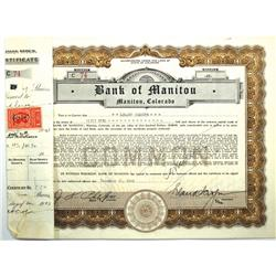 Manitou,CO - El Paso County - 1943 - Bank of Manitou Stock Certificate :