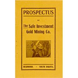 Deadwood,Dakota South - Lawrence County - 1902 - Safe Investment Gold Mining Co. Prospectus :