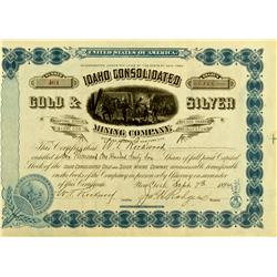 ID - September 7, 1894 - Idaho Consolidated Gold & Silver Mining Company Stock :