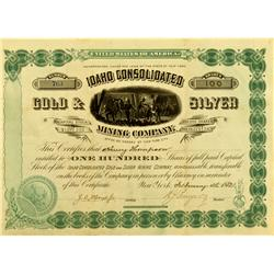 ID - February 4, 1882 - Idaho Consolidated Gold and Silver Mining Company Stock :