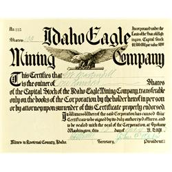 ID - May 13, 1910 - Idaho Eagle Mining Co. Stock Certificate :